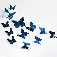 Наклейки бабочки зеркальные, стикеры интерьерные, декор, синие.