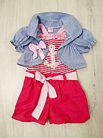 Костюм летний для девочки (сарафан-шорты и болеро) 6 - 9 месяцев. (Турция)