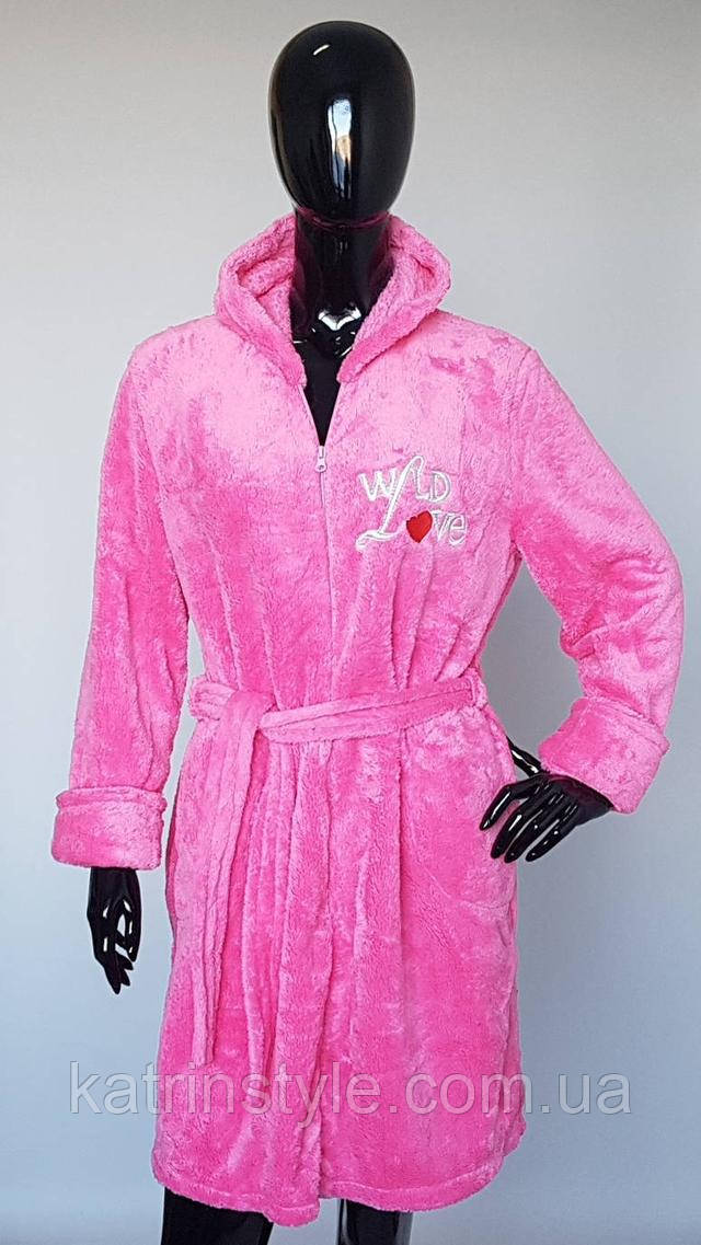фотография пушистый махровый женский халат на молнии