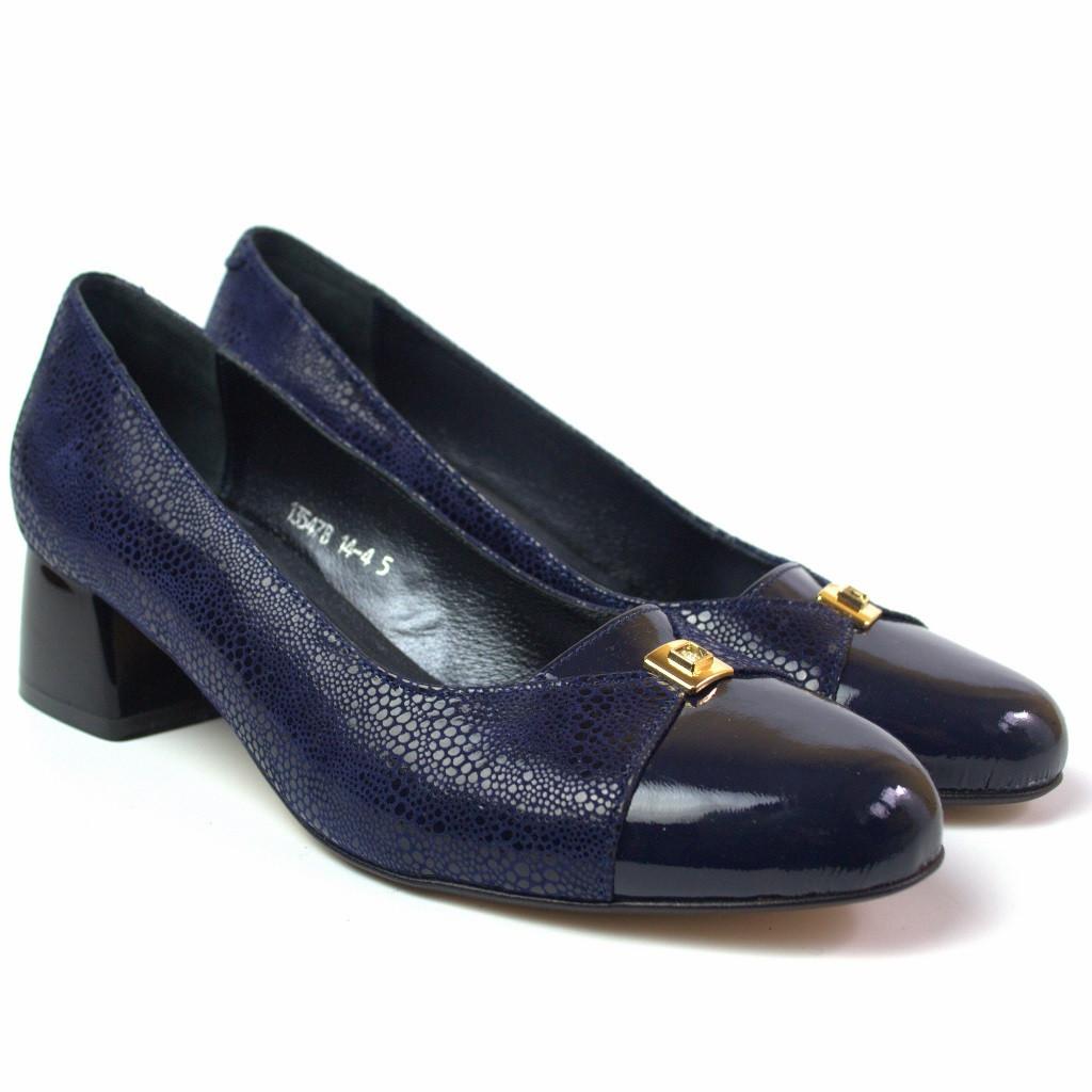 Туфли большого размера женские на каблуке 4 см Pyra V Gold Blu Lether by Rosso Avangard кожаные синие каблук