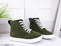 Замшевые спортивные ботинки на шнуровке 36-40 р хаки, фото 1