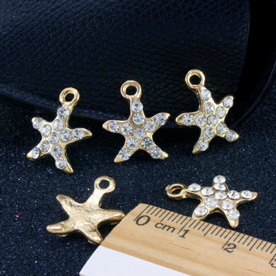"""(5 шт) Кулон, подвеска-шарм + стразы""""Морская звезда"""" (РАЗМЕР 1,7 х 2,0 см) для бижутерии, металл, Цена за 5 шт"""