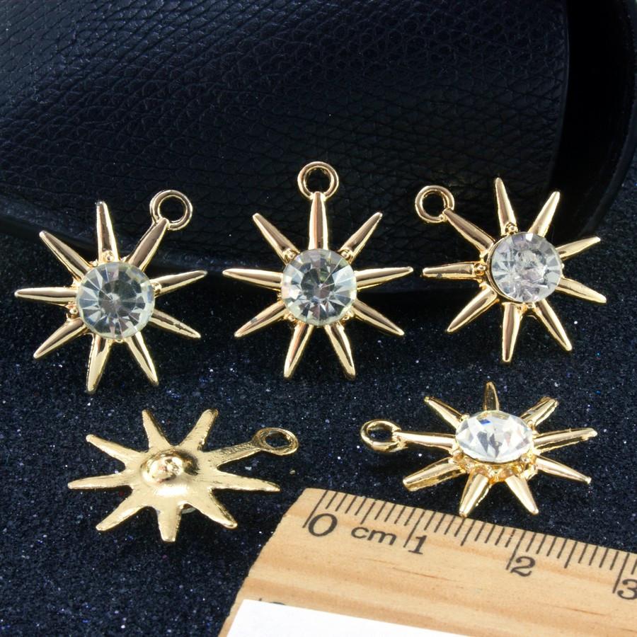 "(5 шт) Кулон, подвеска-шарм + стразы ""Звезда""  (РАЗМЕР 2,5 х 2,2см) для бижутерии, металл, Цена за 5 шт"