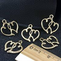 "(5 шт) Кулон, подвеска-шарм ""2 сердца"" (РАЗМЕР 2 х 1,9 см) для бижутерии, металл, Цена за 5 шт"