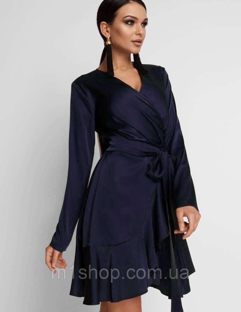 Женское шелковое платье с воланом (Арина jd)
