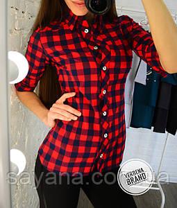 Женская рубашка с принтом- клетка в расцветках, р-р 48-54. ВЕ-0-1-0620