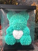 Мишка из 3D роз 40 см с сердечком в красивой подарочной упаковке Мишка Тедди из роз