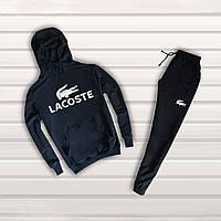 Классный мужской спортивный костюм с логотипом Lacoste (Крокодил) синий -  реплика 7cfa5800363fa