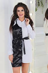 Оригинальная удлиненная черно-белая женская рубашка туника с атласной отделкой с кружевом и поясом