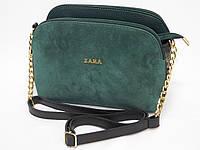 Замшевая мини-сумочка Zara цвет бутылка, фото 1