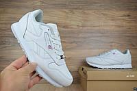 Мужские кроссовки кожаные рибок Reebok Classic полностью белые (ТОП реплика), фото 1