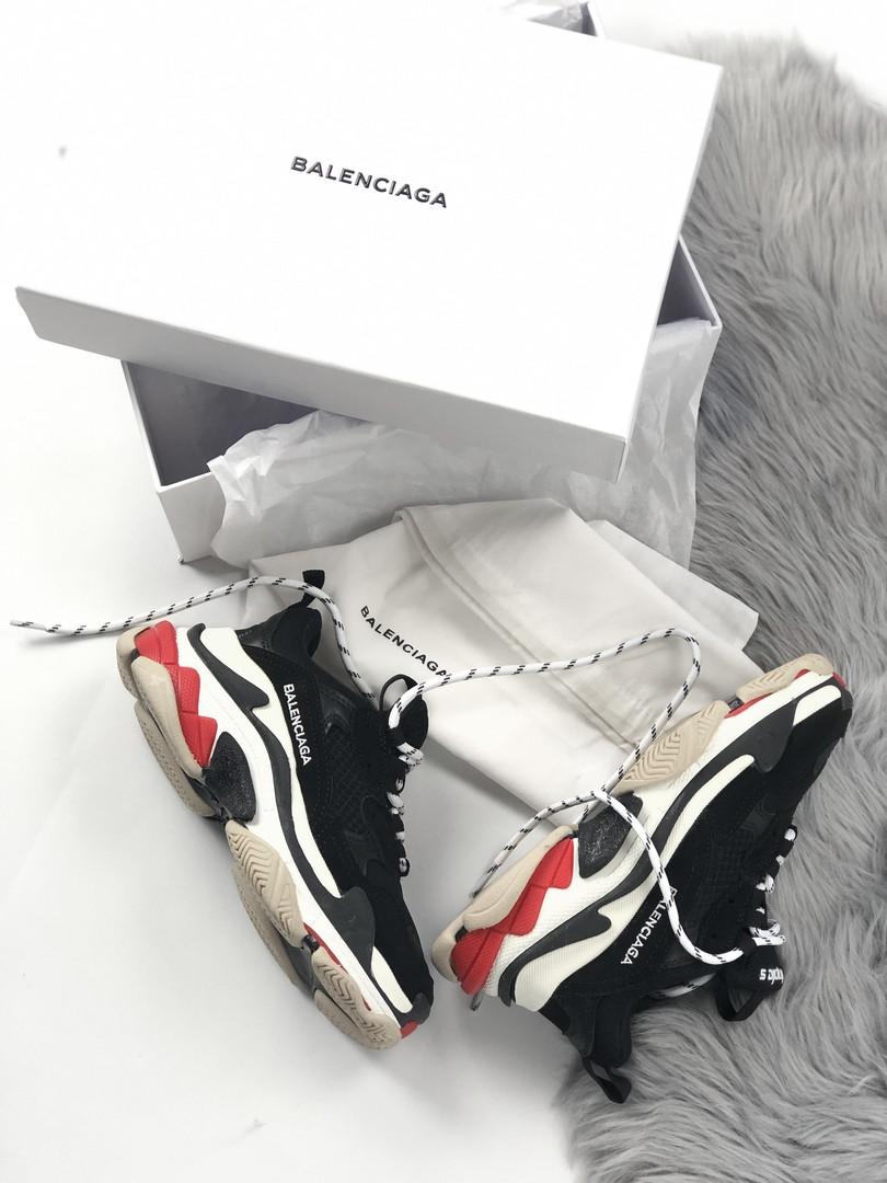 Женские кроссовки Balenciaga Triple S (Black/red), женские баленчиаги трипл с