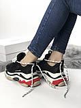 Женские кроссовки Balenciaga Triple S (Black/red), женские баленчиаги трипл с, фото 6