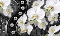 Фотообои готовые Орхидеи и черные узоры размер 368 х 254 см