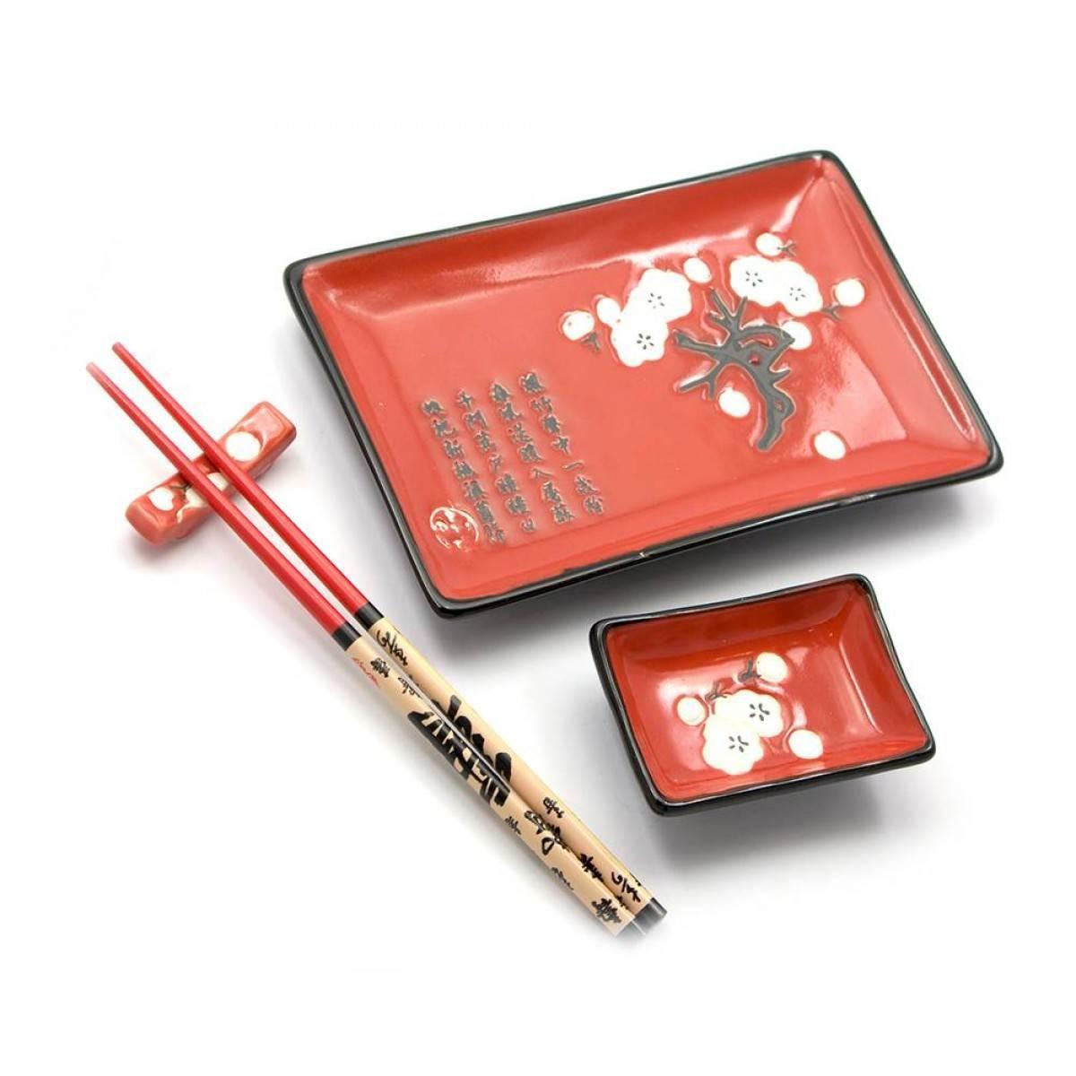 """Сервиз для суши """"красный с сакурой""""(28х14 см)(1 персона)"""