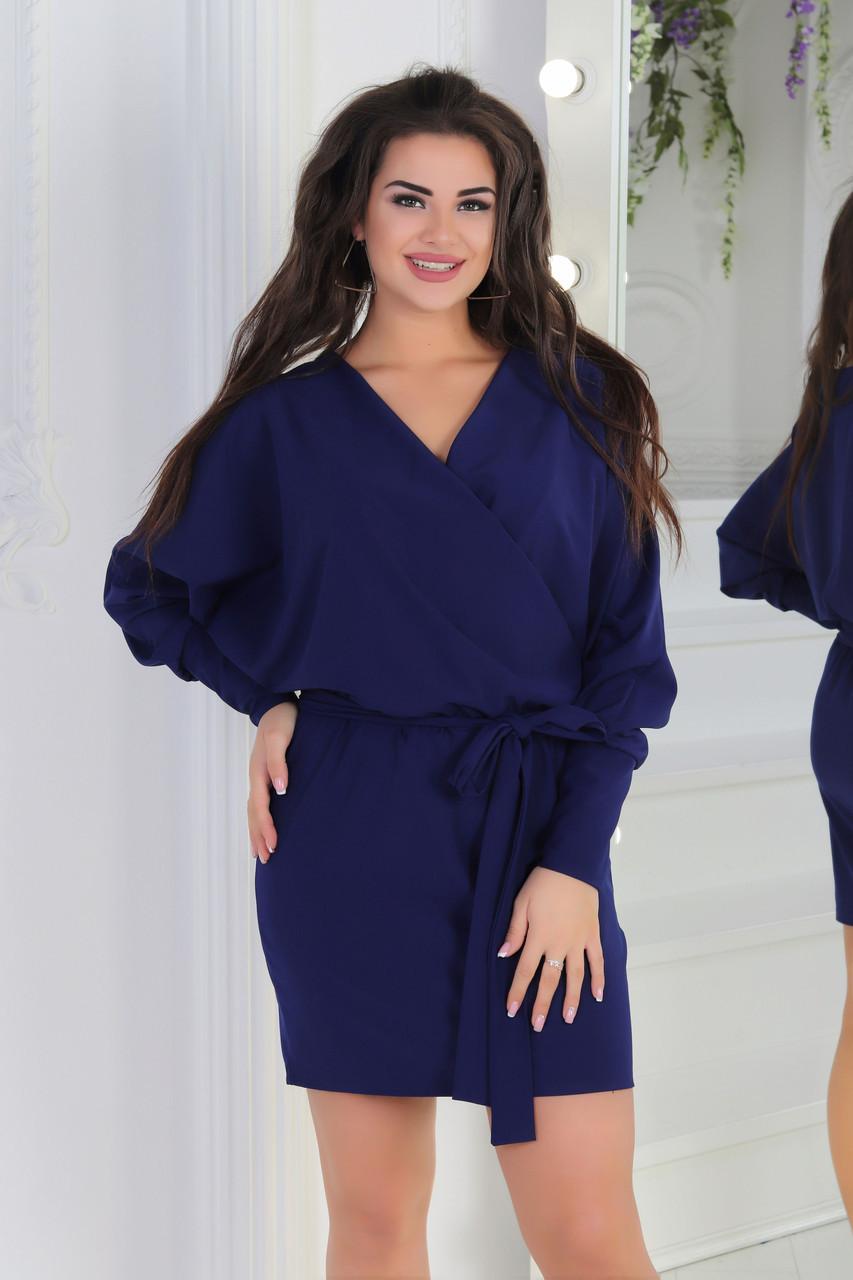 Свободное платье с объемными рукавами с запахом на груди и пояском, норма и батал большие размеры