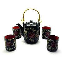Сервиз керамический (чайник 700мл, h-13,5см, d-9см; 4 чашки 130мл, h-7,3см, d-6см)(27х17х12 см)