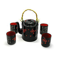 Сервиз керамический (чайник 700мл, h-13,5см, d-9см; 4 чашки 130мл, h-7,3см, d-6см)(28х16х12см)