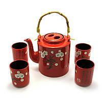 Сервиз керамический (чайник ,4 пиалы)(чайник 1100 мл пиала 125 мл)(28х16х12 см)
