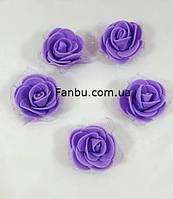 Фиолетовая роза из латекса(фоамирана) с фатином размер 3.5см(1 уп-5роз), фото 1