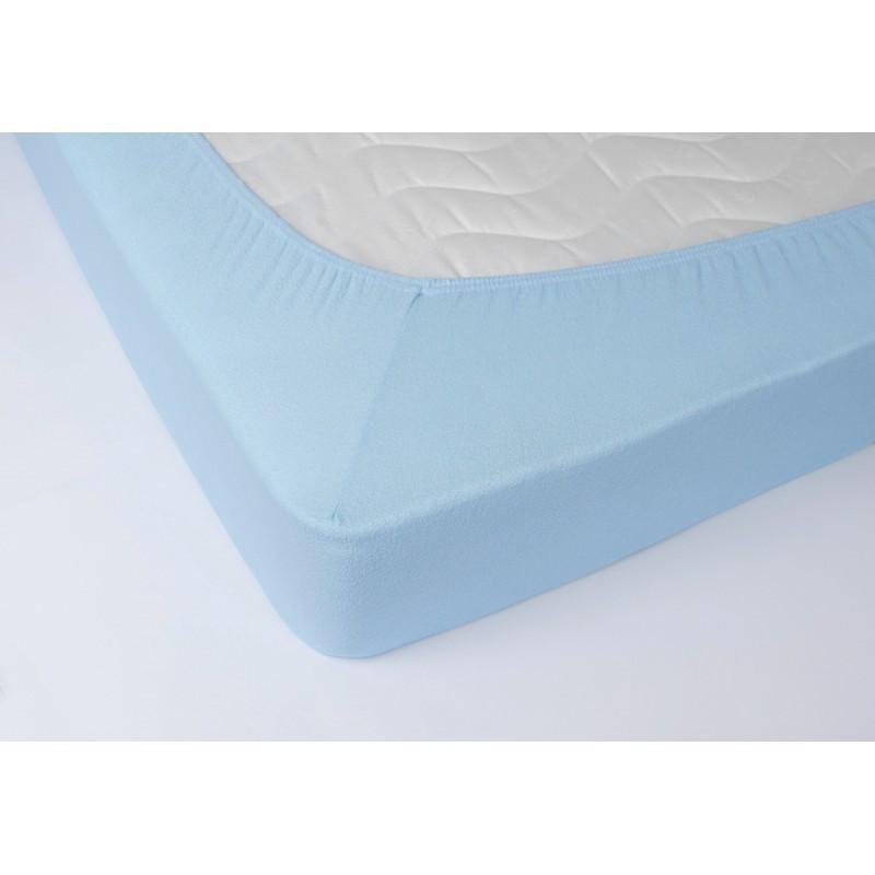 Простынь махровая на резинке Lotus - Голубой 160*200+25 оптом