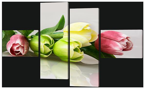 Модульная картина Interno Холст Разные тюльпаны 196x123см (R631XL)