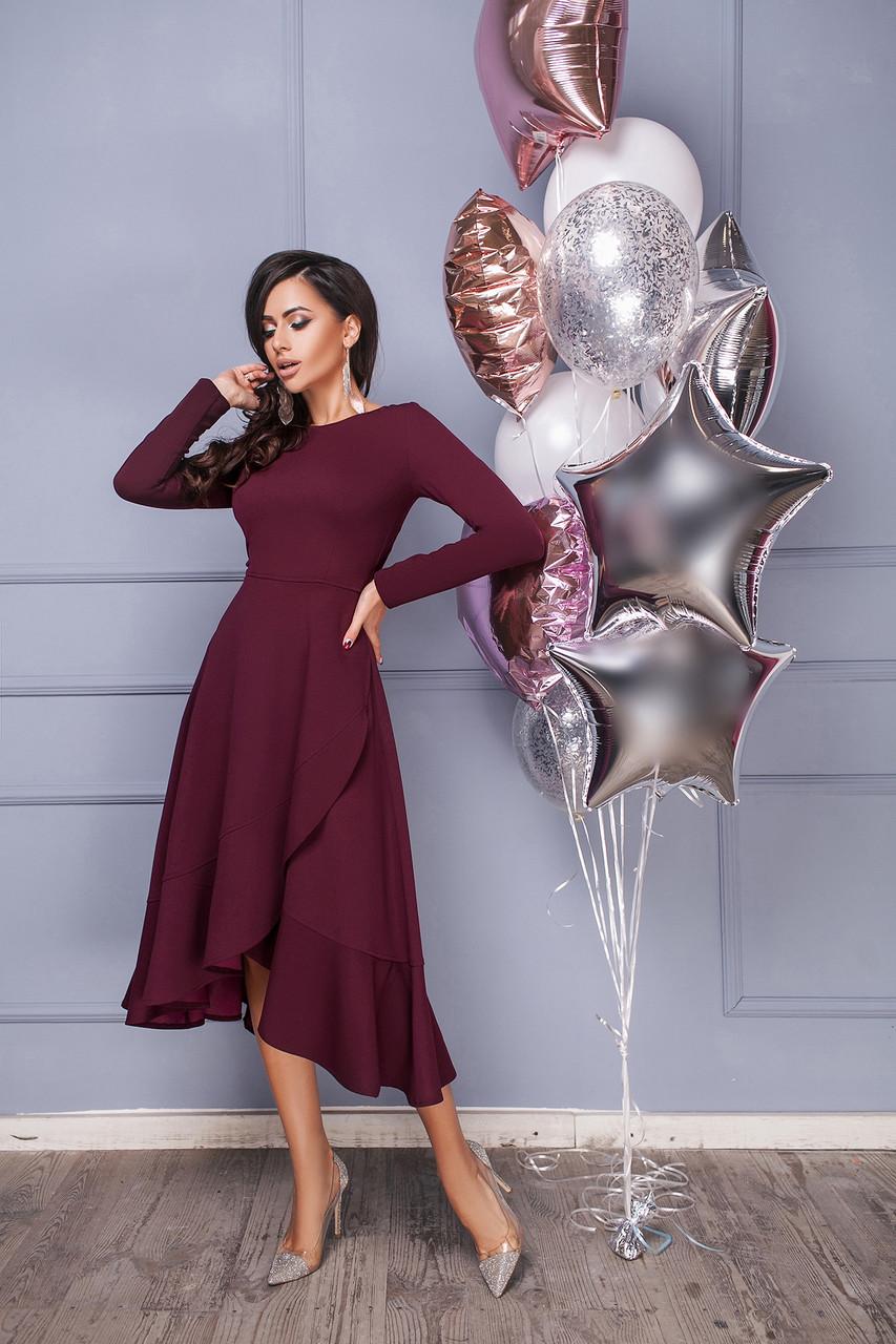 Платье женское с длинными рукавами и юбкой на запах