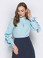 e87fb229868 Голубая женская нарядная блузка с воротником-стойкой р.44