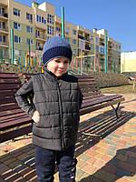 Детский прогулочный комплект для мальчика: жилетка на синтепоне и трикотажная кофта, нашивка Молния McQueen
