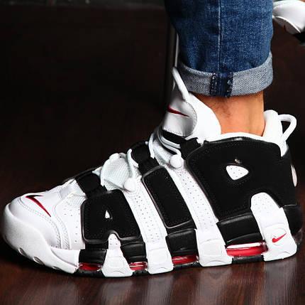 Мужские и женские кроссовки Nike Air More Uptempo White/Black, фото 2