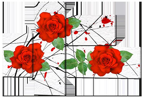 Модульная картина Interno Эко кожа Розы на белом 110х78см (A651S)