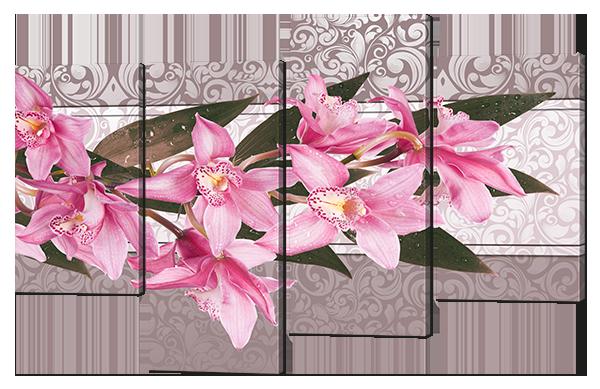 Модульная картина Interno Эко кожа Орхидея абстракция 126x83см (A667L)