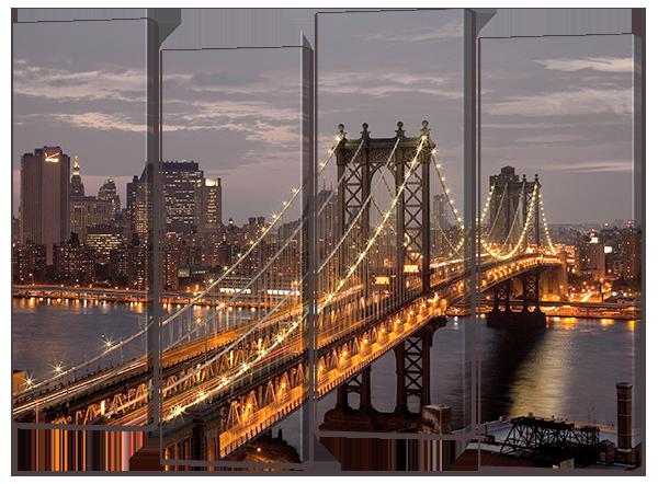 Модульная картина Interno Эко кожа Мост, ночные огни 104х79см (A700М)