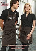 Вышитый логотип на кулинарном фартуке, пошив спецодежды