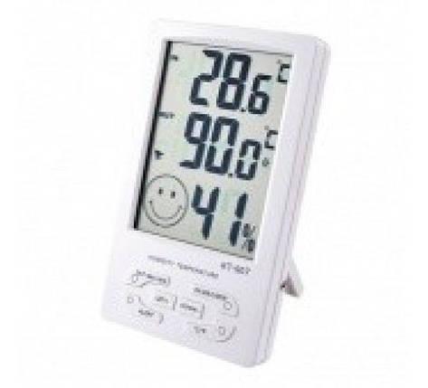 Домашний термо-гигрометр КТ-905, с часами, будильником, календарем, фото 2