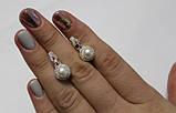 Серебряные серьги с жемчугом и золотыми вставками, фото 2