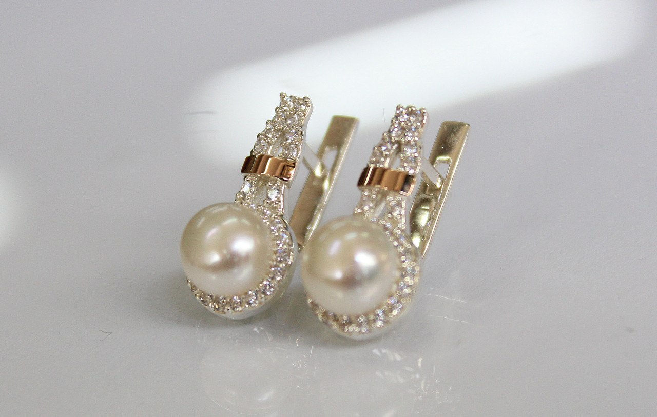 Серебряные серьги с жемчугом и золотыми вставками