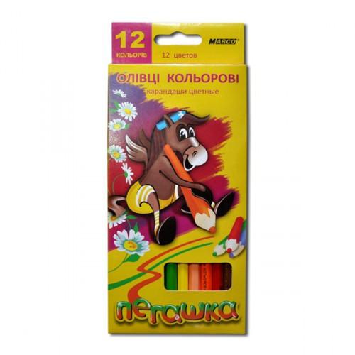 АКЦИЯ!!! Карандаши цветные MARCO 1010-12СВ пегашку 12цв шестигранные (1/12/240) 66436