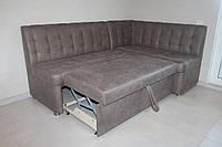 Кутовий диван зі спальним місцем в кухню (Світло-коричневий), фото 1