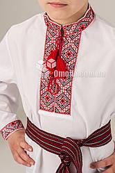 Вышиванка детская с геометрическим узором Федор Красная вышивка