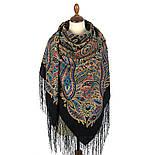 Печатный пряник 356-19, павлопосадский платок (шаль) из уплотненной шерсти с шелковой вязанной бахромой, фото 3