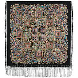 Печатный пряник 356-19, павлопосадский платок (шаль) из уплотненной шерсти с шелковой вязанной бахромой