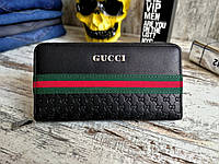 Мужской черный портмоне gucci,кошелек гучи (реплика)