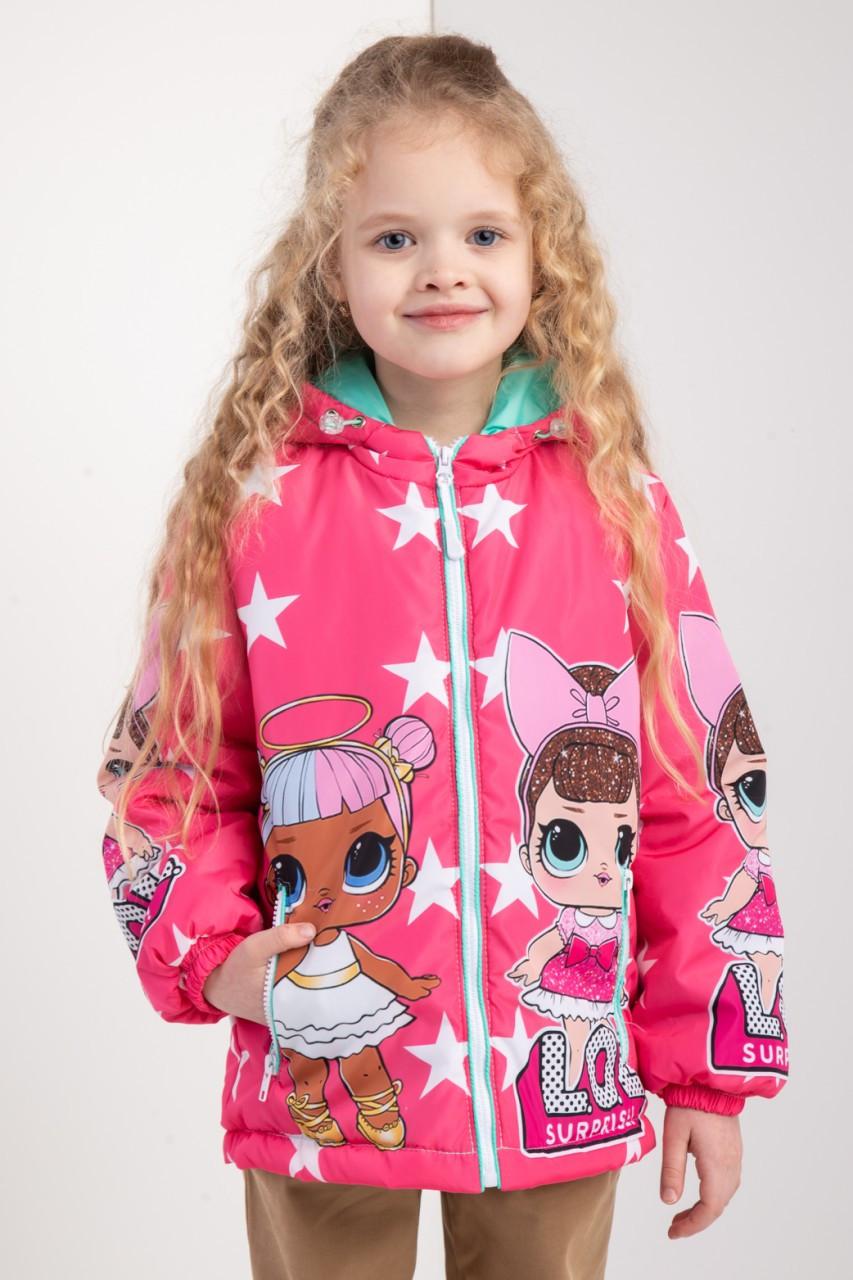 """Куртка для девочек весна-осень с принтом """"LOL"""" 116-122-128-134 роста"""