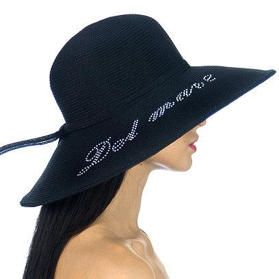 Шляпа Дель Мар с надписью стразами на поле черного цвета