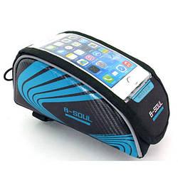 """Сумка велосипедная под смартфон на раму B-Soul BAO-001BLUE, 6"""""""