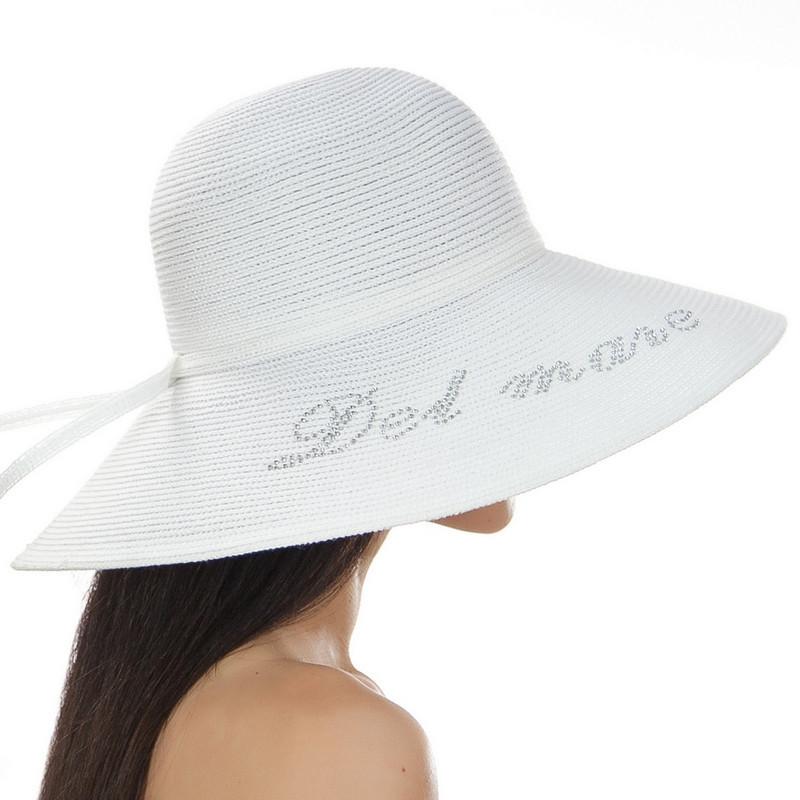 Шляпа Дель Мар с надписью стразами на поле белого цвета
