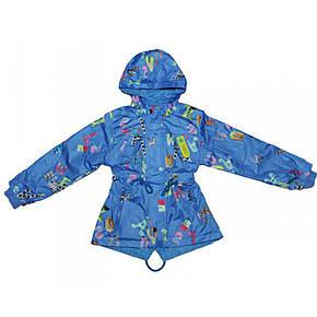 Практичная ветровка детская дождевик на флисе голубая, фото 2