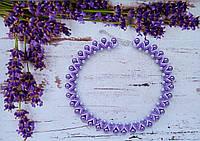 Колье, ожерелье, бусы фиолетовые из бисера и бусин ручной работы