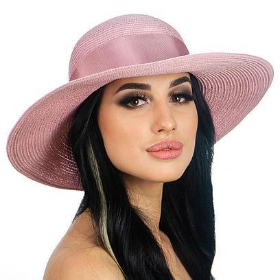 Шляпа с широкой лентой пудровая (модель 163)